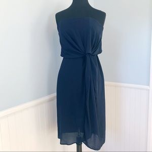 ASOS Strapless Navy Blue Dress with Knot Detail